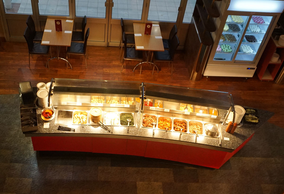 Arial view of buffet in Aroma restaurant
